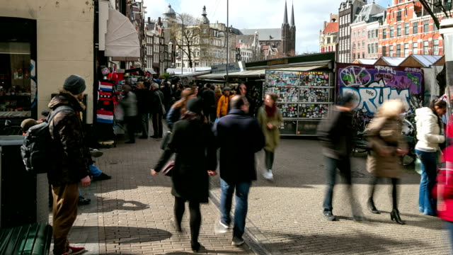Time-lapse panning: City Pedestrian Shopping at Flower market Amsterdam