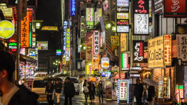 4k timelapse panning : crowd on kabukicho at night, tokyo , japan . - party host stock videos & royalty-free footage