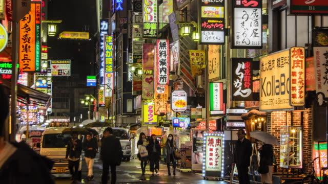 4K Timelapse panning : Crowd on Kabukicho at night, Tokyo , Japan .