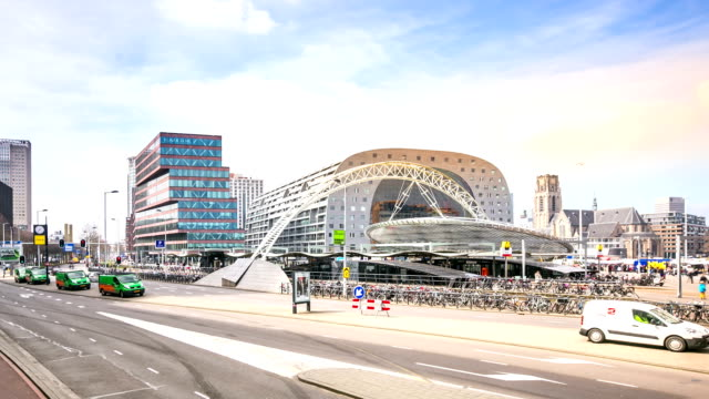 hd time-lapse panning: rotterdam downtown and market hall netherlands - the hague stock videos and b-roll footage