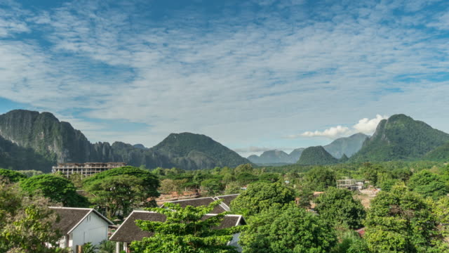 4K Time-lapse : Panning shot and Beautiful sunrise at Viewpoint in Vang Vieng, Laos