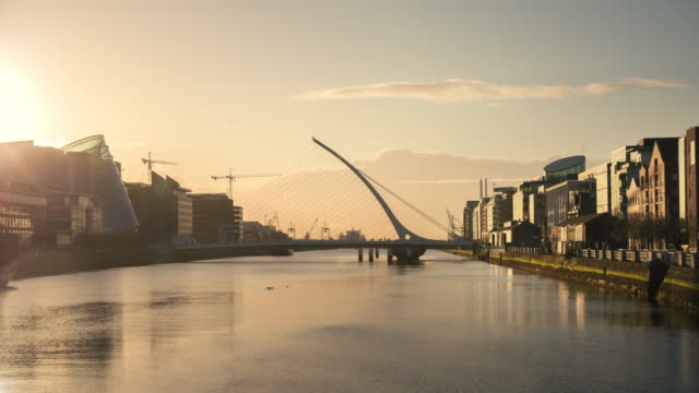 Timelapse panning sunrise in Dublin Ireland