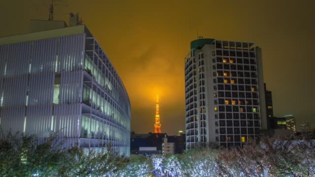 vídeos de stock, filmes e b-roll de 4 k timelapse panning: torre de tóquio e natal iluminações em roppongi tóquio, japão - árvore de folha caduca