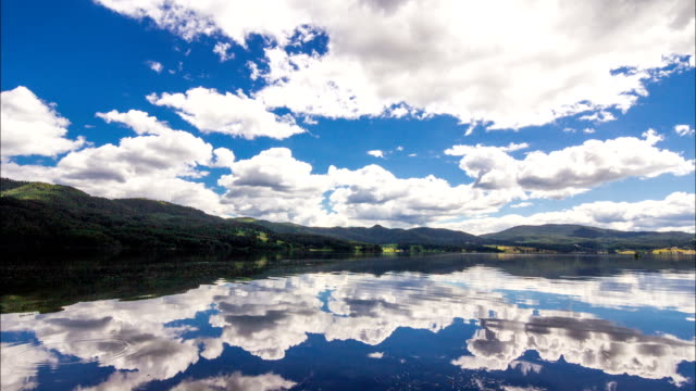 HD Timelapse panning view of beautiful Mountain Lake with amazing white clouds and blue sky