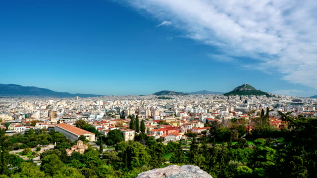 time-lapse: panorama of athens, greece, as seen from the acropolis - athens greece stock videos & royalty-free footage