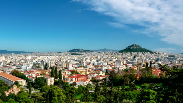 time-lapse: panorama of athens, greece, as seen from the acropolis - lycabettus hill stock videos & royalty-free footage