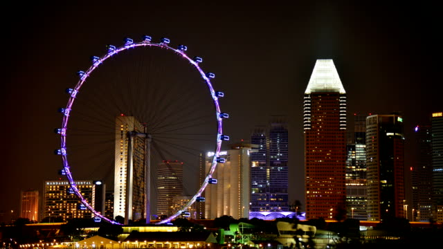 timelapse panoramic view in singapore . - singapore flyer stock videos and b-roll footage