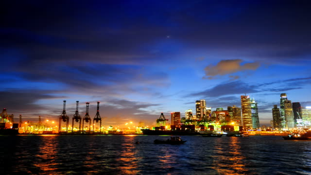 Timelapse panoramisch uitzicht in Singapore.