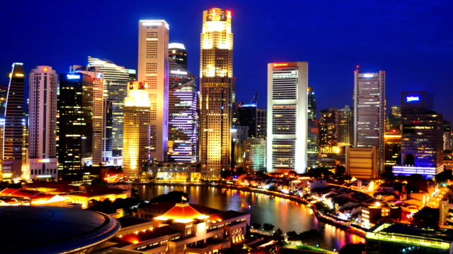 Timelapse Panoramablick auf Singapur .Zoom out-Effekt
