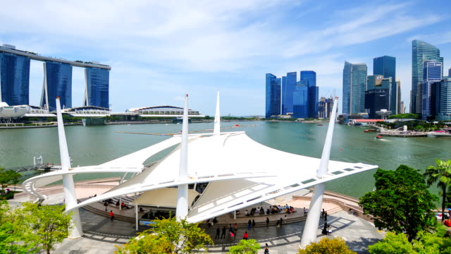 timelapse panoramic view in singapore .zoom out effect - singapore flyer stock videos and b-roll footage