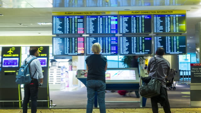Timelapse : Passengers checking the flight schedule