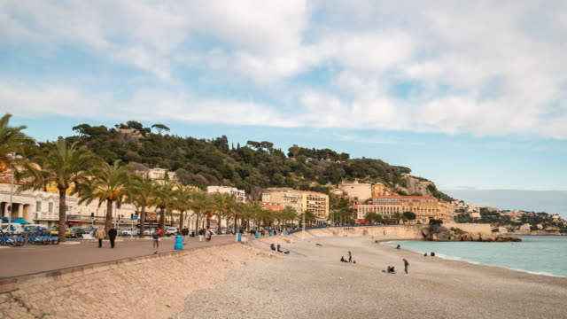 Time-lapse: Pedestrian along Nice beach French Riviera France