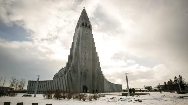 Time-lapse: Pedestrian at Hallgrimskirkja Cathedral Reykjavik Iceland