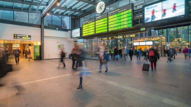 time-lapse pedestrian at malmo station in sweden - cleveland ohio stock videos and b-roll footage
