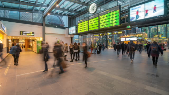 time-lapse pedestrian at malmo station in sweden - caucasian ethnicity stock videos & royalty-free footage