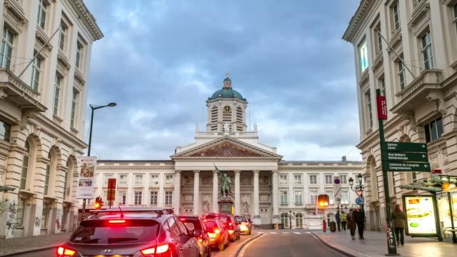 time-lapse: pedestrian brussels grand place garden belgium sunset - belgium stock videos & royalty-free footage