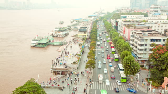 Time-lapse Pedestrian Commuter at Dock in Wuhan Hubei China