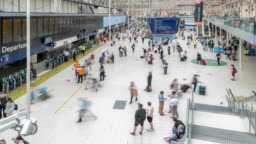 Time-lapse Pedestrian Commuter Crowd at london waterloo train station ticket hall in London England UK