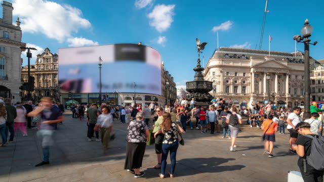 Time-lapse: Pedestrian Commuter Crowd at Piccadilly Circus downtown in London England UK