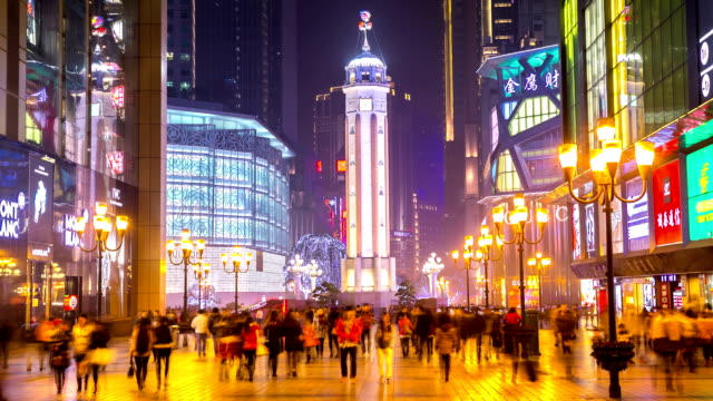 HD Time-lapse: Pedestrian Crowd at Chongqing Jeifangbei Town Square, China