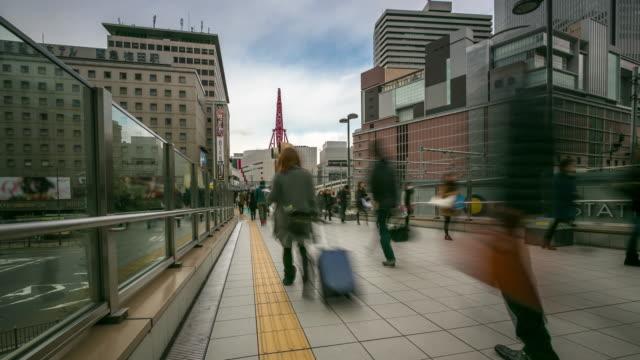 Time-lapse: Pedestrian Crowd at Osaka downtown Train Station, Umeda