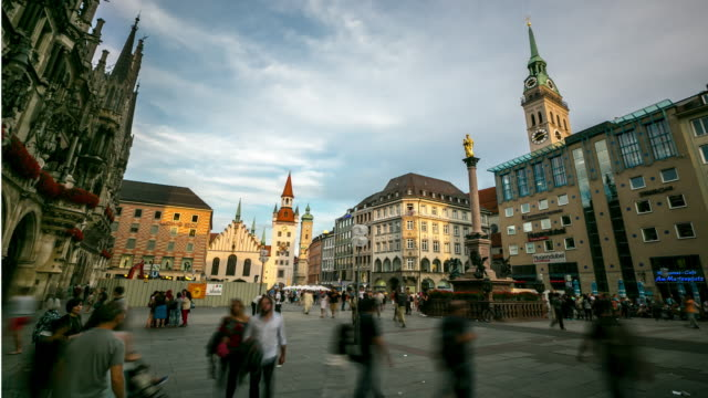 4k time-lapse: pedestrian crowded at central square marienplatz, munich, germany - munich stock videos & royalty-free footage