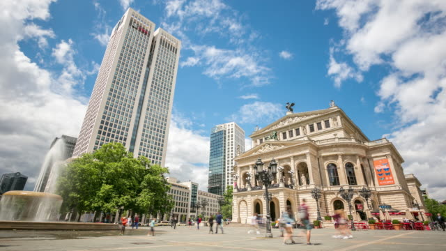 4K Time-lapse: Pedestrian Crowded at Frankfurt Alte Oper Opera Germany