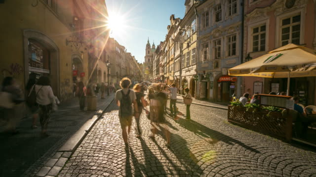 4k time-lapse: pedestrian crowded at lesser town mala strana czech - mala strana stock videos and b-roll footage