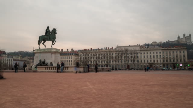 Time-lapse: Pedestrian crowded at Lyon Place Bellecour France
