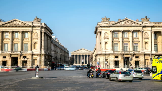 HD Time-lapse: Pedestrian crowded at Madeleine Church, Paris