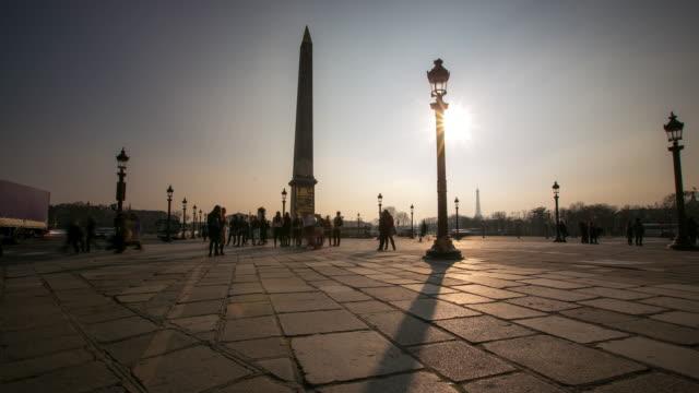 4K Time-lapse: Pedestrian crowded at Obelisk Place la Concorde, Paris