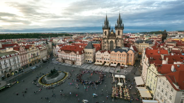 4k time-lapse: pedestrian crowded at old town square prague czech republic - mala strana stock videos and b-roll footage