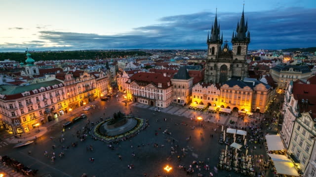 4k time-lapse: pedestrian crowded at old town square prague czech republic - famous place stock videos & royalty-free footage