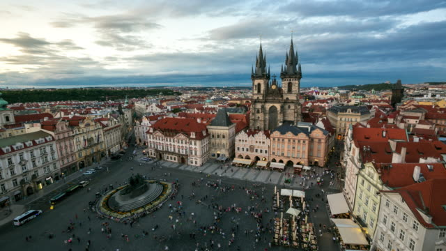 4k time-lapse: pedestrian crowded at old town square prague czech republic - stare mesto stock videos & royalty-free footage