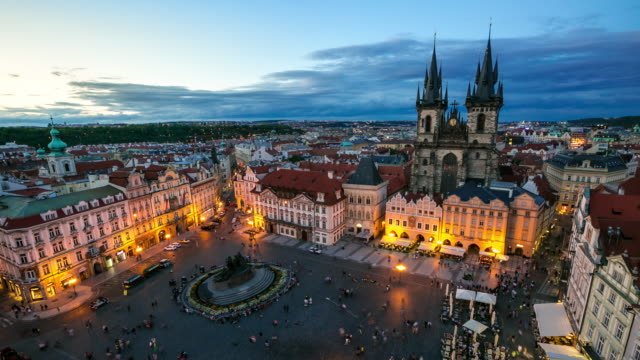 4k time-lapse: pedestrian crowded at old town square prague czech republic - stare mesto stock videos and b-roll footage