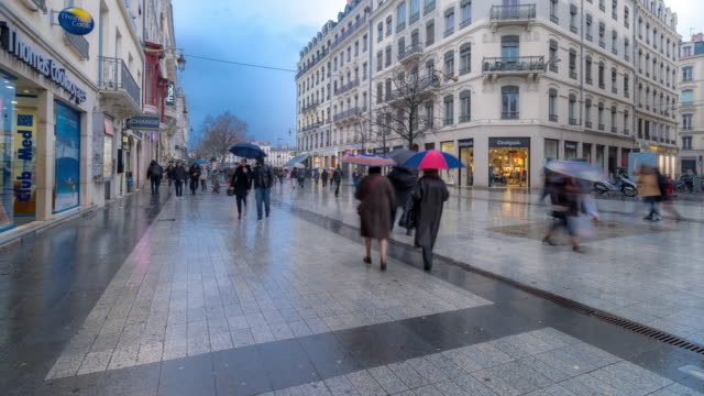 time-lapse: pedestrian crowded at republique shopping street lyon france - governo video stock e b–roll