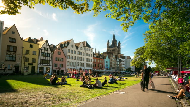 4K Time-lapse: Pedestrian crowded at Rhine Garden town square Germany