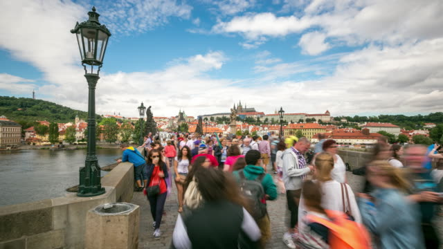 4K Time-lapse: Pedestrian Crowded Charles Bridge Karluv Most Czech Republic