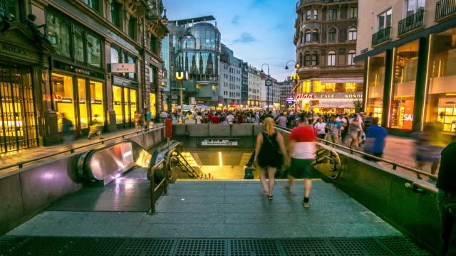 4k time-lapse: pedestrian crowded kartner shopping street vienna austria dusk - vienna stock videos and b-roll footage