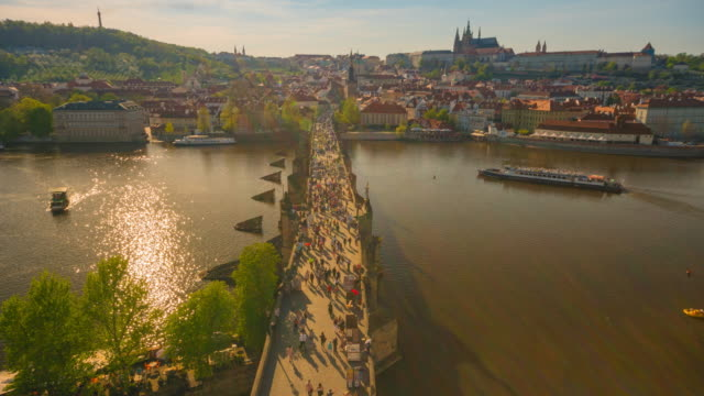 Time-lapse: Pedestrian Crowded on the Charles Bridge Prague Czech Republic