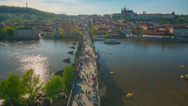time-lapse: pedestrian crowded on the charles bridge prague czech republic - traditionally czech stock videos & royalty-free footage