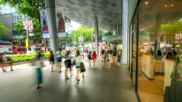 4k time-lapse: pedestrian crowed at sidewalk of orchard singapore - orchard stock videos & royalty-free footage