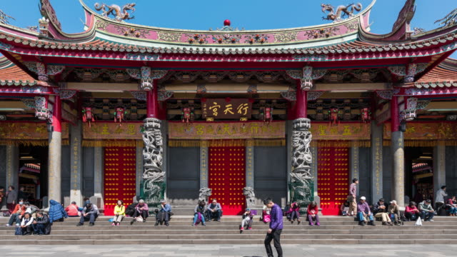 4K time-lapse : Pedestrian crowed in Hsing Tian Temple, Taipei, Taiwan