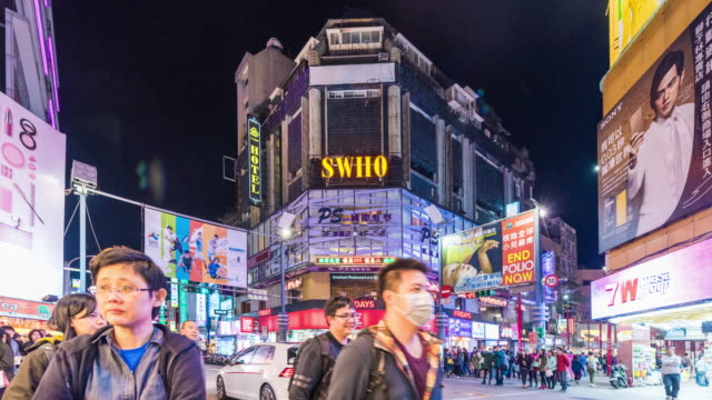 4K Time-lapse : Pedestrian crowed in shopping mall at Ximen, Taipei, Taiwan