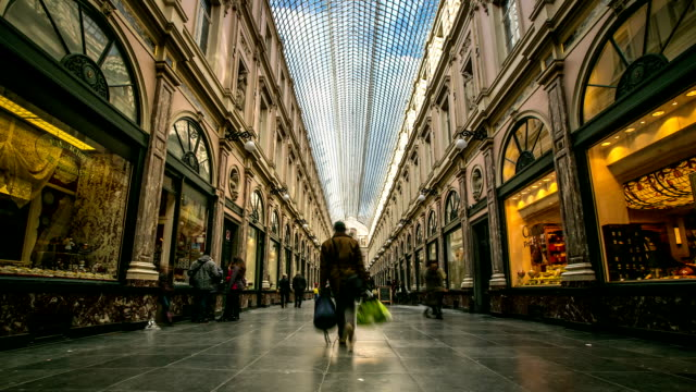 HD Time-lapse: Pedestrian shopping at Galeries Grand Place Brussels Belgium