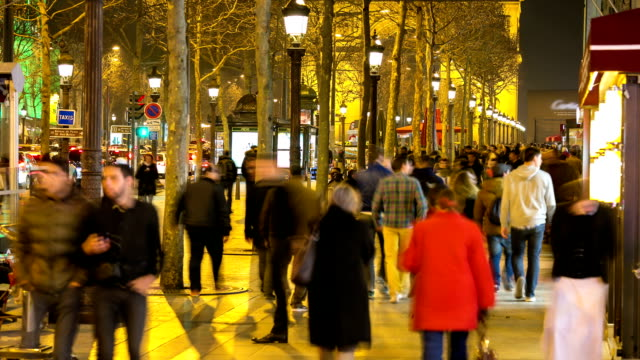 HD time-lapse: Pedestrian Tourist Crowd at champs elysee Paris night
