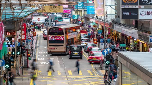 Time-lapse: Pedestrians and transportation background at Fa Yuan Market Mongkok, Nathan Road in Kowloon Hong Kong