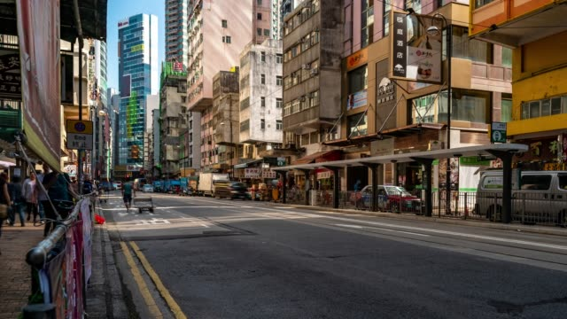 Time-lapse: Pedestrians and transportation background at Western market Dried Seafood and Tonic Food Streets, Sheung Wan, Hong Kong downtown