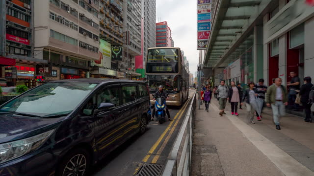 time-lapse: pedestrians and transportation nathan road  mong kok station in hong kong - mong kok stock videos & royalty-free footage