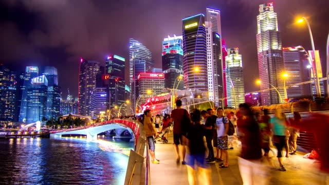 hd time-lapse : pedestrians at marina bay singapore. - singapore stock videos & royalty-free footage